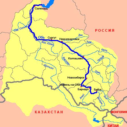 Река обь на карте